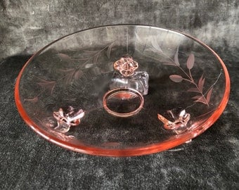 Vintage etched pink glass tri footed dish