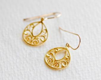 Gold Earrings, Earrings, Gold Chandelier, Filigree Earrings, Drop Earrings, Gold Earrings Dangle, Tear Drop Earrings, Delicate Earrings