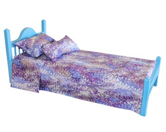 """American Girl bed, Blue AG bed, AG doll Furniture, 18 inch doll furniture, 18"""" doll bed, 18 inch doll bed, 18"""" bed, doll bed, wood bed"""