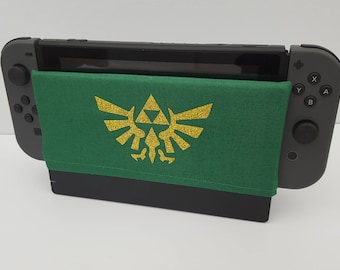 Zelda Nintendo Switch Dock Cover Geeky Pixel Retro Gaming Video Game Screen Cozy Soft Fun Accessories Protection Cover Handmade Fashion