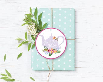 Tea Party Bridal Shower Favor Tags, Baby Shower Gift tags, Printable, Flora, Watercolor, Bride Luncheon, Summer Bridal Shower