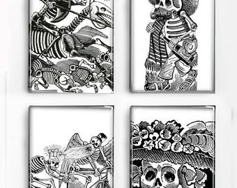Set of 4 Magnets Day of the Dead Black and White