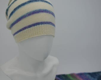 Knitted set (hat+neckerchief). Knit woman hat. Knit woman set.