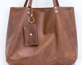 Brown Leather Bag, Tan Leather Tote, Travel Bag, Brown Work Bag - Tan Leather Handbag - Camel Purse with Coin Purse - Brown Leather Wallet