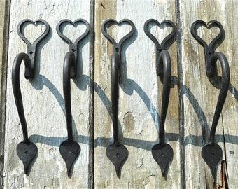 A set of 5  hand wrought iron American shaker folk art door handles barn door pull BL11