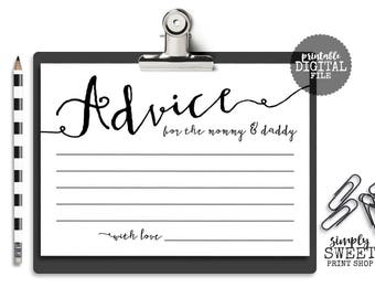 Baby Shower Advice Cards For The Mom and Dad To Be Gender Neutral Elegant Fancy Pretty Whimsical Boy Girl Baby Shower Game Mommy Daddy 5x7