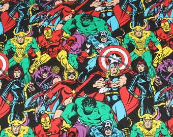 "100*140cm/39""*55"" Marvel The Avengers Hulk Iron Man Wonder Woman Captain America Black Widow Hawkeye Cotton Elastic Fabric"