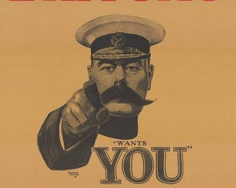 Britons: Lord Kitchener Wants You. Join Your Country's Army! God save the King. Vintage Print/Poster. (004372)