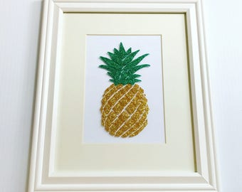 Green and Gold Pineapple Art