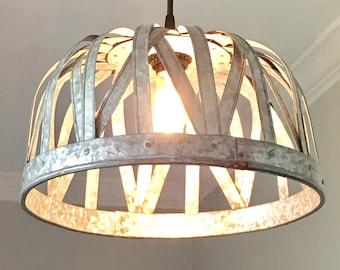Galvanized Pendant Light   Ceiling Light, Rustic Lighting, Farmhouse,  Vintage, Kitchen Lighting