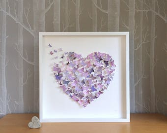 Personalised art. Butterfly art. Heart wall art. Lilac lavender decor. Birthday gift. Unique wall art. Christmas present.