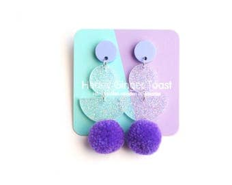 Purple PomPom Earrings - Drop Earrings - Pastel Earrings - Pom Pom Earrings
