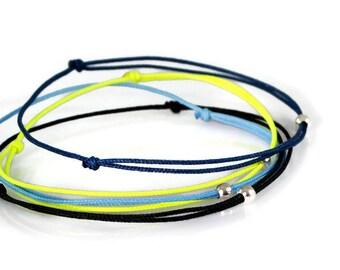 Simple Bracelet for Men. Thin Cord Bracelet. Blue Navy Black Bracelet Men. Friendship Wish Bracelet. Tiny Silver Bead String Bracelet Men