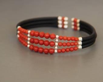 genuine red coral silver Cuff Bracelet and black silicone