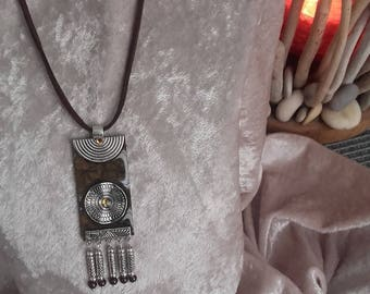 inspired ethnic silver deep chocolate brown handmade necklace pendant