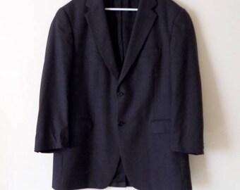 80s Pinstriped Sport Coat by Bill Blass for Filenes, Black Size 36W 42L