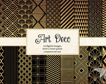 Art Deco Digital Paper, Black and Gold Patterns, geometric art deco printable scrapbook paper, digital instant download commercial use
