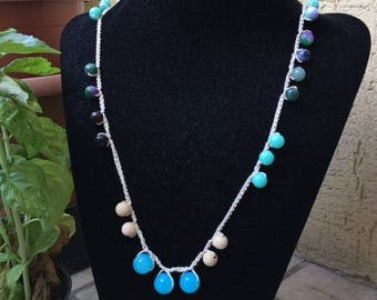 Long necklace with gemstone turquoise