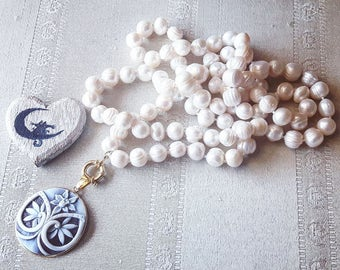 Pearl Necklace and cameo