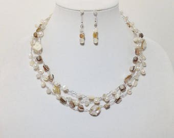 White Cultured Freshwater Pearl, Natural and White MOP Shell, Faceted Glass, Non-Tarnish Silver Plated Wire, Wire Crochet, Necklace Earrings