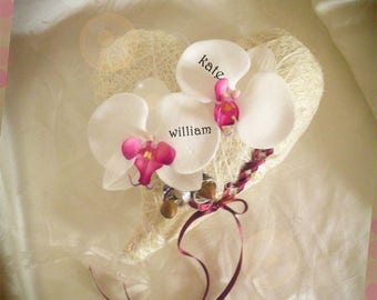 Burgundy customize artificial Orchid ring bearer
