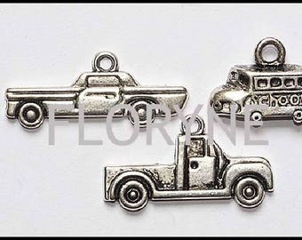 3 charms Pendants in Silver: Pick-Up truck and Bus