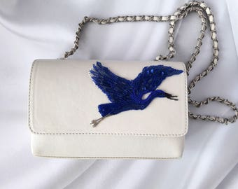 White blue handbag Cream leather purse Japanese crane birds Embroidered real leather statement bag Ladies elegant stylish embroidered clutch