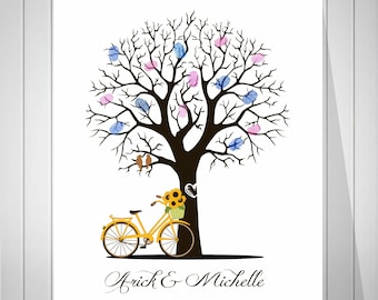 Wedding Bicycle Guest Book Fingerprint Tree Keepsake Gift for Wedding Bridal Shower Guest Book Thumbprint  Tree Guest Book - 51377