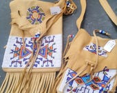 Mother daughter handbag set with large shoulder bag and small shoulder  bag matching Brand New by Doug Fast Horse of the Oglala Lakota Sioux