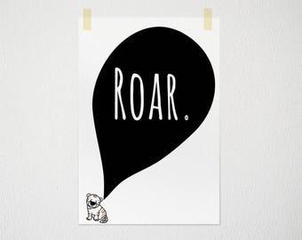 Tiger print, roar, illustration for kids, nursery decor, save the tigers, kids room printable, instant download