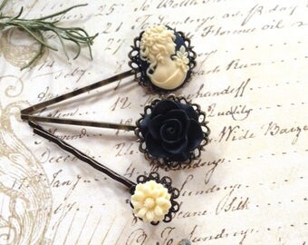 Off White and Black Cameo And Flower hair Clips