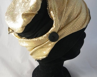 Bas086 - Chemo black and gold CAP and removable headband