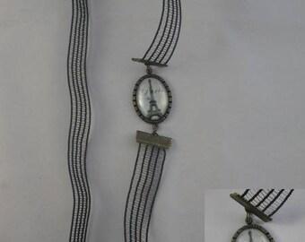 Ban021 - Black Headband and cabochon Eiffel Tower, Paris, France