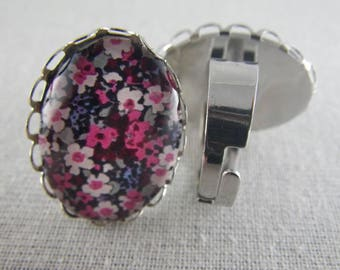 Bague085 - Silver ring liberty black and pink