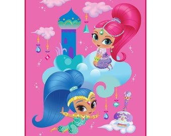 """Shimmer and Shine Plush Throw Blanket 46"""" x 60"""" Personalized"""