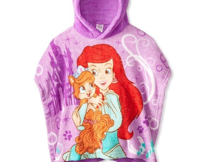"Disney Palace Pets ""Ariel and Treasure"" Super Soft Plush Fleece Hooded Poncho Blanket, Personalized"