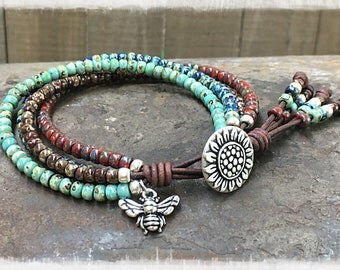 Bead Leather Wrap/ Bohemian Seed Bead Leather Wrap Bracelet/ Leather Bracelet/ Boho Leather And Seed Bead Bracelet/Multi-color Bracelet
