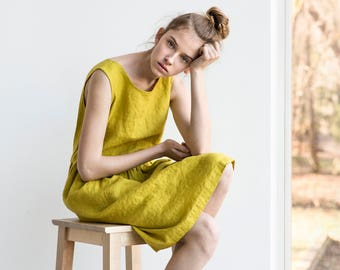 Smock linen dress / Loose linen sleeveless summer dress in greenish mustard / Washed linen dress available in 34 colors