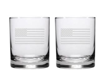American Flag Rocks Glasses / Set of 2 / Free Personalization  / Etched Rocks Glass / Engraved Whiskey Glass
