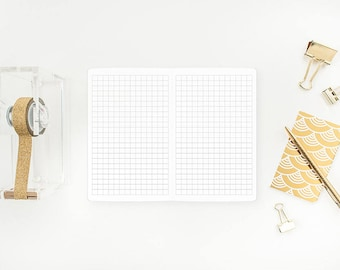 Graph Paper Traveler's Notebook Insert – Micro or Passport size - grey grid - journaling - bujo - bullet journal