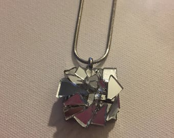 Square Silver Shattered Glass Pendant Necklace, 21mm