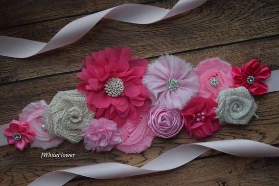 Sash, think pink burlap Sash,  flower Belt, maternity sash, wedding sash, flower girl sash, maternity sash belt