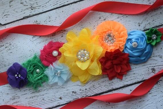 Fiesta Flowers Sash Belt,#2, Jewelry sash,rainbow sash, flower Belt, maternity sash, wedding sash, flower girl sash, maternity sash belt