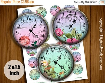 SALE 50% Digital Collage Sheet Shabby Chic Time 2 inch 1.5 inch Printable circle images for Pocket Mirrors Magnets Labels Pendant - 174