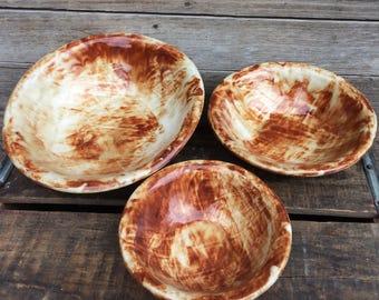 Mud Sisters Pottery Stoneware Ceramic Bowl Farmhouse Décor Earth Colors Nesting