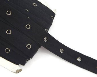 Black Grommet Tape with Gunmetal Eyelet Cotton Twill Tape on Trim by the Yard ATN00475