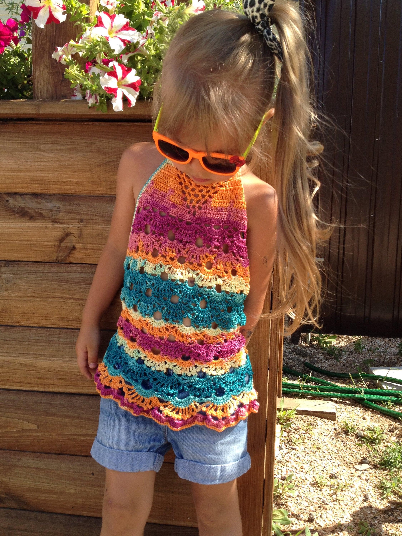 Crochet toddler dress 3T 5T Rainbow crochet tunic Festival Baby