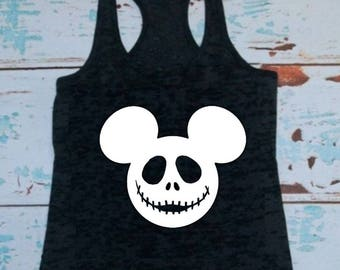 Jack skellington, Mickey Mouse, T-shirt or Tank Top, Jack and Sally, Nightmare before Christmas, Disney shirts, Disney tanks, Mickey Ears