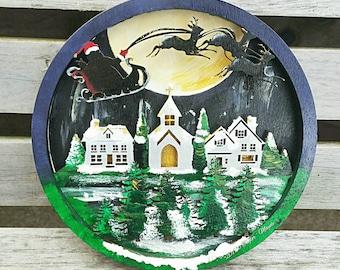 Christmas plaque, glow in the dark, Santa plaque, Christmas eve, Father Christmas, xmas wall dećor, Christmas decoration, handmade Christmas
