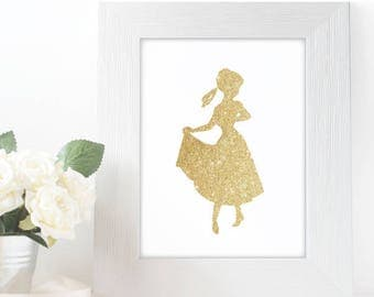 "Gold Glitter Anna Frozen Silhouette,  5x7"" 8x10"" incld., DIGITAL PRINTABLE File, Gold Sparkle Design Silhouette, Disney Princess Decor"